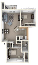 Two Bedroom, One Bath Floor Plan at Indian Lakes Apartments, Indiana, 46545