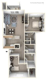 Traditional Two Bedroom Floor Plan at Liberty Mills Apartments, Fort Wayne