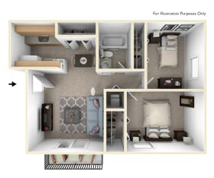 Two Bedroom One Bath Floor Plan at Madeira Apartments, Michigan, 49001