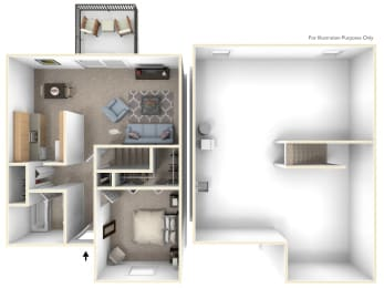 One-Bedroom Townhome Floor Plan at Mount Royal Townhomes, Michigan