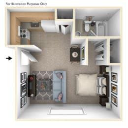 Studio Floor Plan at Seville Apartments, Kalamazoo