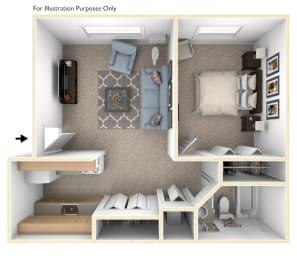 One Bedroom One Bath Floorplan at Normandy Village Apartments, Michigan City, Indiana
