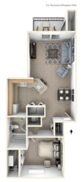 One Bedroom Floorplan at North Pointe Apartments, Elkhart, IN, 46514