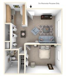 1 Bed 1 Bath Spanish One Bedroom Floor Plan at Old Monterey Apartments, Missouri, 65807