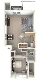 1 Bed 1 Bath One Bedroom End Floor Plan at Orchard Lakes Apartments, Toledo