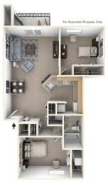 2 Bed 1 Bath Two Bedroom, One Bath Floor Plan at Pine Knoll Apartments, Michigan