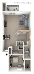 1 Bed 1 Bath One Bedroom End Floor Plan at South Bridge Apartments, Fort Wayne, 46816