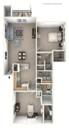 Two Bedroom Floor Plan at Stoney Pointe Apartment Homes, Kansas