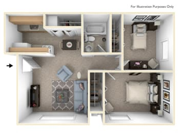 2 Bed 1 Bath Two Bedroom Floor Plan at Swiss Valley Apartments, Wyoming, 49509