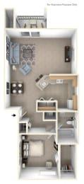 One Bedroom End Floor Plan at Tall Oaks Apartment Homes, Kalamazoo, MI