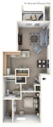 One Bedroom Floor Plan at Tall Oaks Apartment Homes, Kalamazoo, MI, 49009