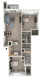 Two Bedroom Floor Plan at Tall Oaks Apartment Homes, Kalamazoo, MI