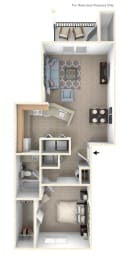 One Bedroom Floor Plan at Tracy Creek Apartments, Perrysburg, 43551