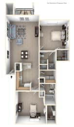 Two Bedroom Floor Plan at Tracy Creek Apartments, Perrysburg, Ohio