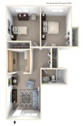 Two Bedroom One Bath Floor Plan at Newport Village Apartments, Portage, MI