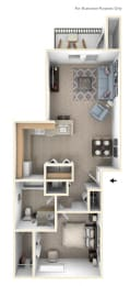 One Bedroom Floor Plan at West Hampton Park Apartment Homes, Nebraska, 68022