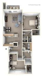 Two Bedroom Floor Plan at West Hampton Park Apartment Homes, Elkhorn, NE, 68022