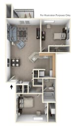 Two Bedroom, One Bathroom Floor Plan at Windmill Lakes Apartments, Holland