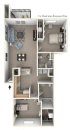 Two Bedroom, Two Bathroom Floor Plan at Windmill Lakes Apartments, Michigan