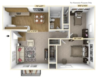 Chestnut Oak 2 Bedroom Floor Plan at Charter Oaks Apartments, Davison