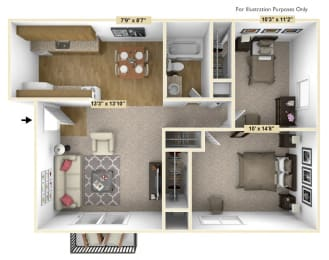 Acorn 2 Bedroom Floor Plan at Charter Oaks Apartments, Davison, 48423