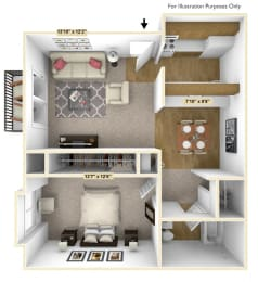 Downey Oak 1 Bedroom Floor Plan at Charter Oaks Apartments, Michigan