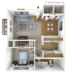 English Oak 1 Bedroom Floor Plan at Charter Oaks Apartments, Davison, MI, 48423