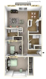 Two Bedroom Clover Ranch Style Floor Plan at Shannon Manor Townhouses, Michigan