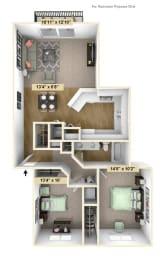 Two Bedroom Birchwood Deluxe Floor Plan at Tanglewood Apartments, Oak Creek, Wisconsin