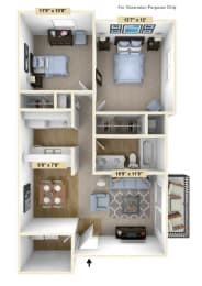 Two Bedroom Mulberry Floor Plan at Tanglewood Apartments, Oak Creek, 53154