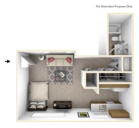 Larkspur Studio Floor Plan at Beacon Hill Apartments, Rockford, Illinois