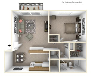 1-Bed/1-Bath, Orchid Floor Plan at Beacon Hill Apartments, Rockford, 61109