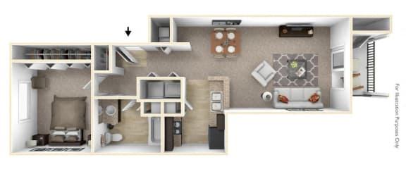 1-Bed/1-Bath, Amethyst Floor Plan at Badger Canyon, Kennewick, WA, 99338