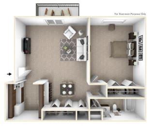 1-Bed/1-Bath, Primrose Floor Plan at Brook Pines, Columbia, SC, 29210