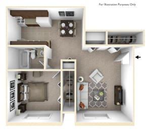 1-Bed/1-Bath, Mina Floor Plan at Cordoba Apartments, Farmington Hills, MI