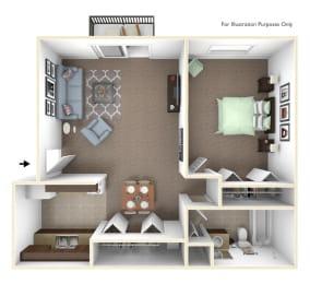 1-Bed/1-Bath, Primrose Floor Plan at Fox Pointe Apartments, East Moline, Illinois