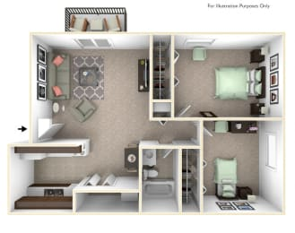 2-Bed/1-Bath, Marigold Floor Plan at Great Oaks Apartments, Rockford, IL