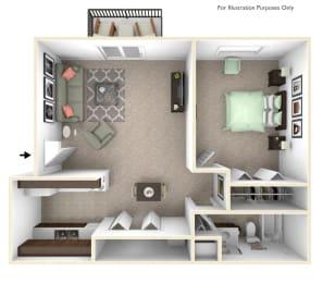 1-Bed/1-Bath, Primrose Floor Plan at Great Oaks Apartments, Rockford, IL, 61109