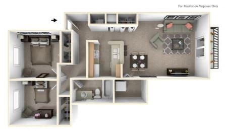 2-Bed/1-Bath, Lily Floor Plan at Hillside Apartments, Wixom, MI