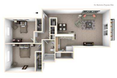 2-Bed/1-Bath, Moonflower Floor Plan at Hillside Apartments, Michigan, 48393