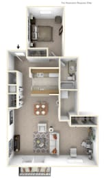 1-Bed/1-Bath, Peony Deluxe Floor Plan at Hillside Apartments, Wixom, 48393