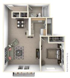 1-Bed/1-Bath, Spiera Floor Plan at Hillside Apartments, Wixom, Michigan