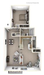 1-Bed/1-Bath, Wandflower Deluxe Floor Plan at Hillside Apartments, Wixom, Michigan