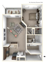1-Bed/1-Bath, Alicia Floor Plan at Irene Woods Apartments, Tennessee, 38017