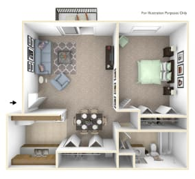1-Bed/1-Bath, Primrose Floor Plan at Lake in the Pines, Fayetteville, NC, 28311
