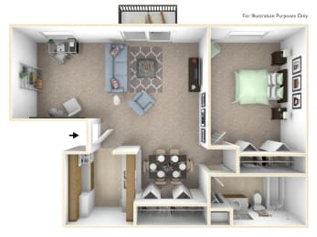 1-Bed/1-Bath, Primrose Deluxe Floor Plan at Lake in the Pines, Fayetteville, North Carolina