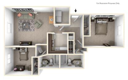 2-Bed/2-Bath, Begonia Floor Plan at LakePointe Apartments, Batavia, OH, 45103