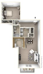1-Bed/1-Bath, Malva Floor Plan at LakePointe Apartments, Batavia