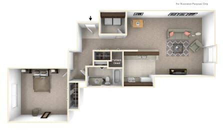 1-Bed/1-Bath, Iberis Floor Plan at LakePointe Apartments, Ohio