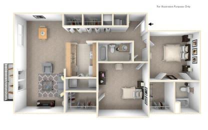 2-Bed/2-Bath, Poinsettia Floor Plan at LakePointe Apartments, Batavia, 45103